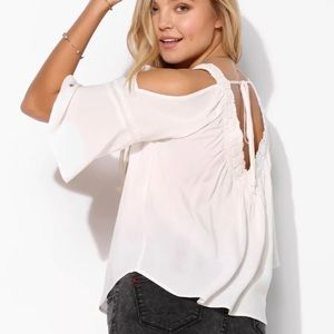 UO Staring At Stars Cold Shoulder Blouse White M